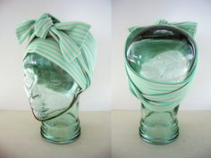 VINTAGE Retro Mint Creme Striped Scarf/Headband FREE SHIPPING. $12.00, via Etsy.