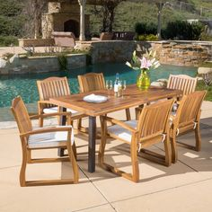 Christopher Knight Home Della Outdoor 7-piece Acacia Wood Dining Set with Cushions