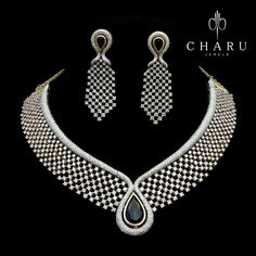 GABRIELLE'S AMAZING FANTASY CLOSET | Charu jewels Diamond and Sapphire Suite of Necklace & Earrings |