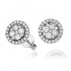 Extravagant Diamond Halo Cluster Stud Earrings 0.70ct in White Gold.