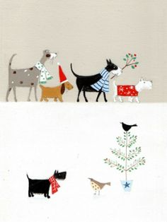 Welcome to Artique Gallery! Dog Illustration, Christmas Illustration, Sweet Drawings, Greeting Card Box, Photo Images, Holiday Gift Tags, Christmas Embroidery, Christmas Dog, Christmas Pictures