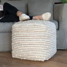 Wool and Jute Pouf Ottoman | Collections | Vintage Ivory  - Cracker Barrel Old Country Store