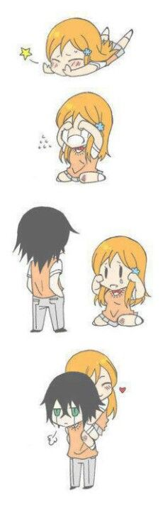 So cute! Ulquiorra and Orihime Bleach