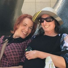 My darlings @kellyoyo and @snuffylarue lounging on Henry Moore's bronze BarcaLounger at @agotoronto.