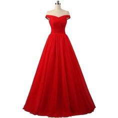 Nina A-line Tulle Prom Formal Evening Homecoming Dress Ball Gown... ❤ liked on Polyvore featuring dresses, gowns, red prom dresses, evening dresses, red cocktail dress, cocktail dresses and evening gowns
