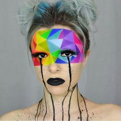 This is amazing makeup. Its a rainbow geometric abstract makeup. Maquillage Halloween, Halloween Face Makeup, Rainbow Face Paint, Sugarpill Cosmetics, Fantasias Halloween, Rainbow Makeup, Pinterest Makeup, Special Effects Makeup, Fx Makeup