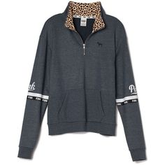 Victoria's Secret Boyfriend Half-Zip ($50) ❤ liked on Polyvore featuring tops, outerwear and victoria's secret