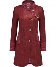 """We love the rich tone of this beautiful tweed coat, ideal for dressing up a relaxed look. With a subtle curved hem and a cute elephant corsage, it's sophisticated with a cheeky twist. Approx Length: 88cm Our model is: 5'8"""""""