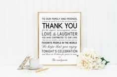 8 x 10 Thank You Wedding Reception Sign for by freshlovecreations