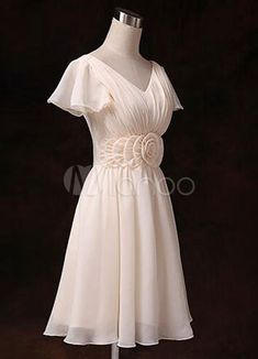 6fd10d6a84aaa Chiffon Bridesmaid Dress Short Sleeve V Neck Gold Champagne Waist Flowers  Short Bridesmaid Dress  Short