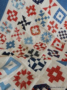 Red, Cream, and Blue Quilt | A Quilting Life - a quilt blog The 2017 #patchworkquiltalong blocks are all set together!