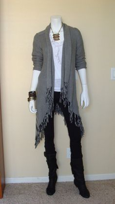 Daily Look:  CAbi Fall '12 Prairie Wrap with vintage Ruched Legging and Ruffle Tee.