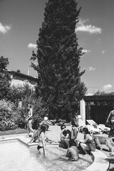 Provence destination pool water shrubbery tree sky | Amber + Alexis | South of France Destination Wedding | Jenn Emerling