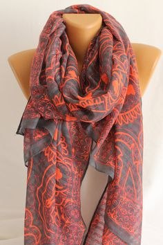 Gray Neon Pink Oversized Scarf Shawl ESCHERPE by escherpe on Etsy, $22.90