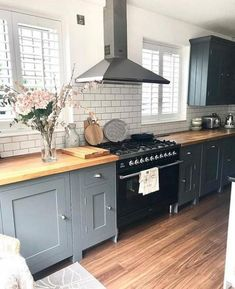 This stunning kitchen belongs to Jill over Jill's Kitchen Renovation tips think about plug sockets - we wish we had added more (in the island) take your time. We waited before making decisions and kept getting more money off the Country Kitchen, New Kitchen, Kitchen Decor, Kitchen Grey, Basement Kitchen, Kitchen Ideas, Kitchen Wood, Kitchen Inspiration, Kitchen Sink