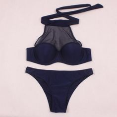 Blue Halter Mesh Women Sexy Swimsuit | Daisy Dress for Less | Women's Dresses & Accessories