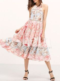 Online shopping for Multicolor Print Ruffle Hem Flare Midi Dress from a great selection of women's fashion clothing & more at MakeMeChic. Floral Chiffon Dress, Pink Midi Dress, Long Sleeve Floral Dress, Floral Dresses, Floral Sundress, Midi Dresses, Flare Dress, Chiffon Dresses, Ruffle Dress