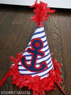 Sailing Boy Collection Birthday Party Hat Anchor by stampinfanatic, $12.50