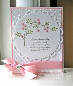 Simple Sympathy Card  I actually like this for any feminine card. Just change the greeting! Pretty Cards, Cute Cards, Embossed Cards, Handmade Sympathy Cards, Handmade Cards For Friends, Sympathy Messages, Thoughts And Prayers Stampin Up Cards, Mother Card, Condolences