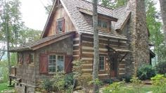 090 Small Log Cabin Homes Ideas Small Log Cabin, Little Cabin, Log Cabin Homes, Cozy Cabin, Log Cabin Exterior, Modern Log Cabins, Small Cabins, Custom Home Designs, Custom Homes