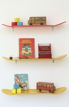 skateboard shelves. any boy would approve.