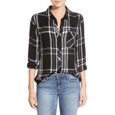 Rails 'Hunter' Plaid Shirt ($138) ❤ liked on Polyvore featuring tops, extra long sleeve shirts, relax shirt, long sleeve tops, shirts & tops and print long sleeve shirt