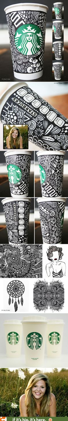 Starbucks announces the winner of their White Cup Contest. The doodled cup by Brita Lynn Thompson will be available as a limited edition re-usable cup this coming fall.