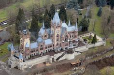 """Dragon Castle Schloss Drachenburg Germany a """"villa"""" built by a crafty banker all in 2 years in the late 1800's"""