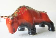 large pottery bull - 38cm long.