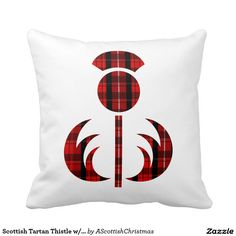 Scottish Tartan Thistle Holiday Pillow (with Scots Gaelic 'Merry Christmas' on reverse).