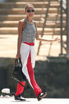 Nicole Richie in stripes & red