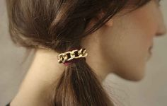 This chain hair tie will look good on your wrist as well as your pony.