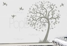 Hope tree with flying birds Wall Decal - PopDecors.com $54.95