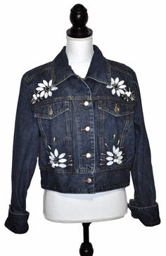Suzete Womens Floral Jean Jacket Blue Denim Jewel Embellished Cropped Size XL #Suzete #JeanJacket