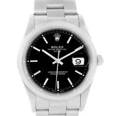 Rolex Date Black Dial Oyster Bracelet Steel Automatic Watch 15200