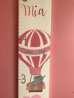 Hot Air Balloon Growth Chart- Elephant Nursery/Dream Big Personalized Wooden Growth Chart