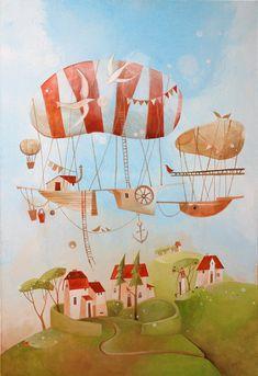 Janka Stašková Klimentová: in clouds ( v oblakoch ) / akryl na plátne / 60 cm x 90 cm Clouds, Projects, Painting, Art, Art Background, Blue Prints, Painting Art, Kunst, Paintings