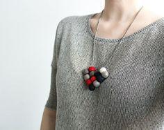 Felt Wool Bead Balls Red White Gray Black Heart von TraLaLand, €22.50