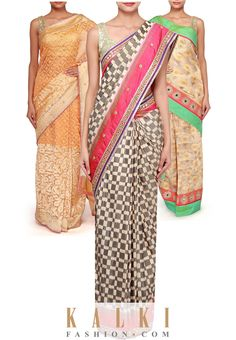 Bring out your traditional side with our elegant collection of silk sarees. It's not only captivating but trendy too. We ship worldwide (Free shipping over USD $100). To buy this product, click on the following link- http://www.kalkifashion.com/sarees/silk-sarees.html