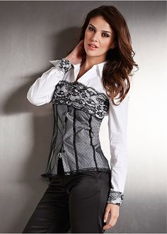 Seems I'm on a roll with the corset style tops!  Love this shirt but not sure I'd waste it wearing it to work lol :-)