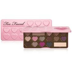 Too Faced Chocolate Bon Bons Eyeshadow Palette ($49) ❤ liked on Polyvore featuring beauty products, makeup, eye makeup, eyeshadow, beauty, make, pink, backgrounds, filler and no color