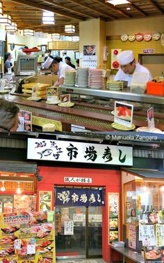 A big conveyor belt sushi restaurant in Kanazawa, Japan.