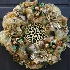 Gold Holiday Deco Mesh Wreath with Glittered Pine Cones and Iced Berries ~ Christmas Front Door Decoration - alert northface Christmas Front Doors, Christmas Mesh Wreaths, Christmas Door Decorations, Fall Wreaths, House Decorations, Shabby, Wreath Crafts, Wreath Ideas, Monogram Wreath