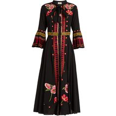 Temperley London Amity floral-embroidered cotton dress ($1,149) ❤ liked on Polyvore featuring dresses, black multi, long-sleeve floral dresses, floral necktie, floral print dress, floral embroidered dress and neck ties