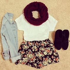 {Cute Fall Outfit} burgundy scarf + jean jacket + white T + floral skirt. Except I would wear longer shorts, obviously. Tokyo Street Fashion, Cute Spring Outfits, Fall Winter Outfits, Grunge Style, Soft Grunge, Teen Fashion, Fashion Outfits, Womens Fashion, Fashion News