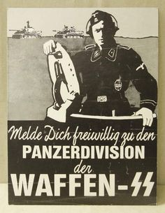 Enlist as a volunteer in the Panzer Divisions of the Waffen SS Nazi Propaganda, German Stamps, Ww2 Posters, Germany Ww2, German Army, Luftwaffe, Military History, World War Two, Wwii