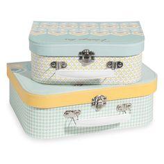 2 Köfferchen aus Karton mit gelben und blauen Motiven VINTAGE