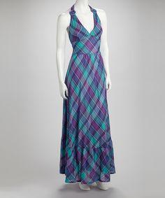 Aoyama Itchome Blue Plaid Capri Halter Maxi Dress