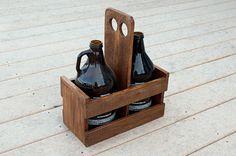 Beer Growler Carrier Beer Caddy Pallet Wood by byDadandDaughter