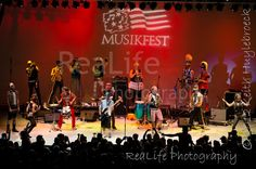 March Fourth Marching Band performs at Musikfest 2012 in Bethlehem, PA on the Americaplatz stage (aka Levitt Pavilion)